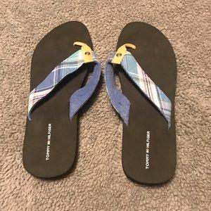 Tommy Hilfiger Blue Plaid Flip Flops
